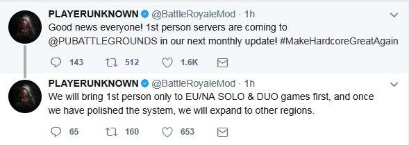 Сервера для игры отпервого лица вPUBG будут