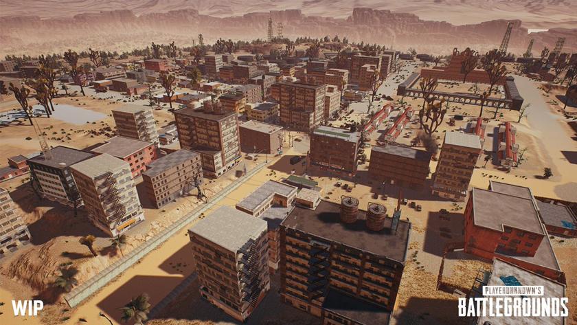 Показаны скриншоты города новой пустынной карты вPUBG