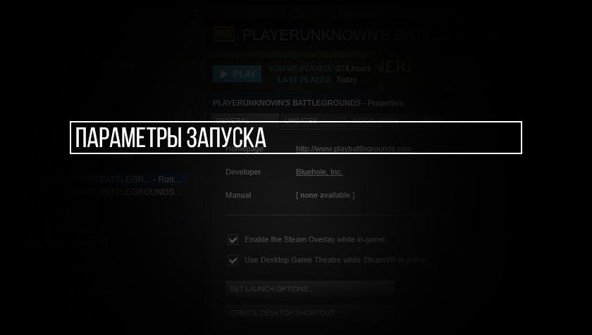 Параметры запуска PlayerUnknown's Battlegrounds в Steam