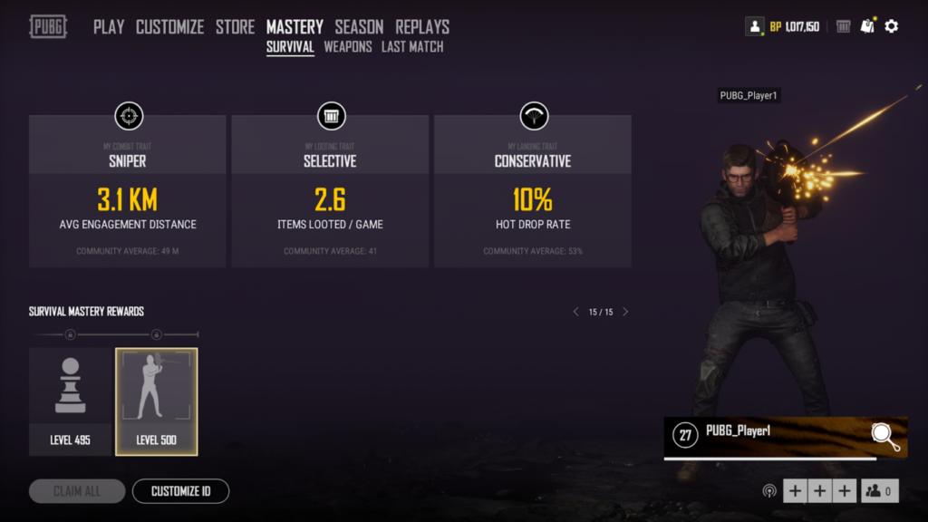 Стиль выживания игрока, показывающий его стиль игры