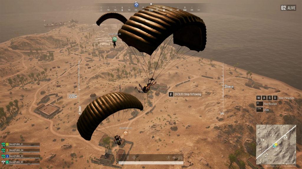 Следование за парашютом