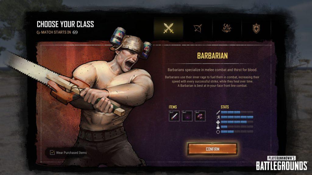 Выбор класса и начало игры