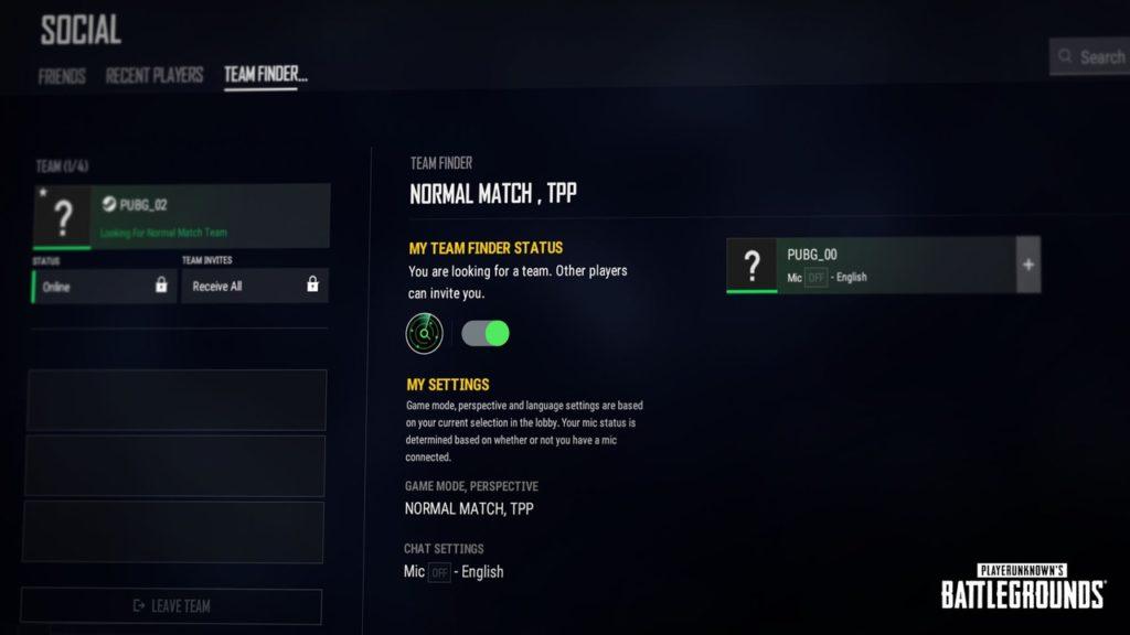 Новая функция: подбор команды